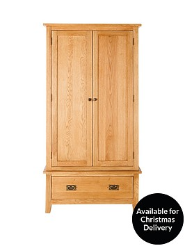 london-2-door-1-drawer-oak-wardrobe
