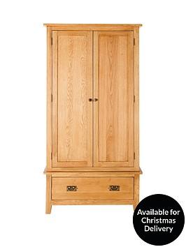 london-2-door-1-drawer-solid-oak-wardrobe