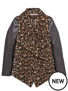 freespirit-girls-animal-waterfall-coat-with-pu-sleeves