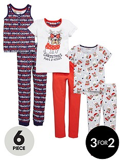 freespirit-girls-christmas-pug-pyjama-set-6-piece