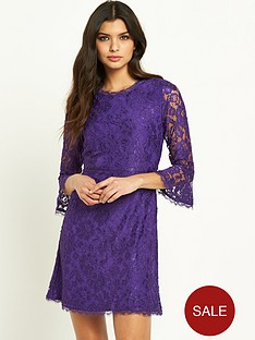 v-by-very-fluted-sleeve-lace-skater-dress