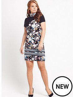 coleen-coleeen-printed-embellished-high-neck-dress