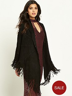 miss-selfridge-fringed-suede-cape