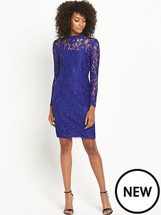 v-by-very-long-sleeve-bow-back-lace-dress