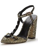 Block Heel Glitter Shoe