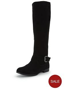 shoe-box-stella-suede-elastic-back-buckle-flat-calf-boot