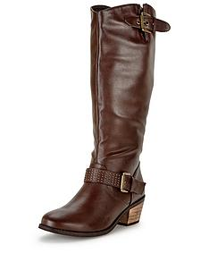 shoe-box-shelby-western-detail-studded-calf-boot-standard-fit-brown