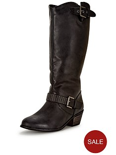 so-fabulous-shay-western-detail-studded-calf-boot-extra-wide-fit-black