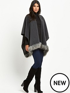 lipsy-lipsy-wax-grey-fur-trim-blanket