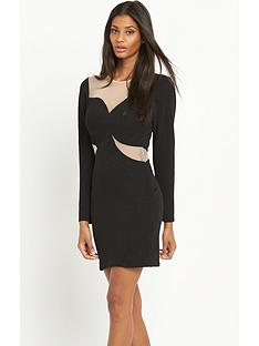 lipsy-lipsy-long-sleeve-sheer-panel-swirl-dress