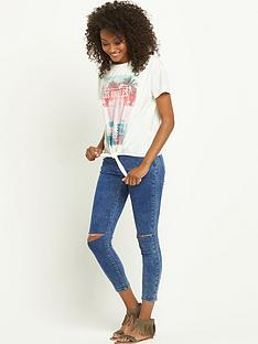 south-placement-print-tie-front-t-shirtampnbsp