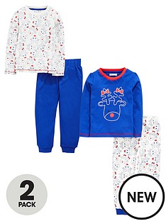 ladybird-toddler-girls-2-pack-fun-rudolf-print-pyjamas-1-7-years