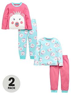 ladybird-girls-pink-cosy-polar-bear-pyjamas-2-pack-12-months-7-years