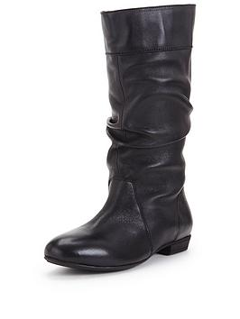 Shoe Box Vanessa Leather Flat Slouch Boot Standard Fit