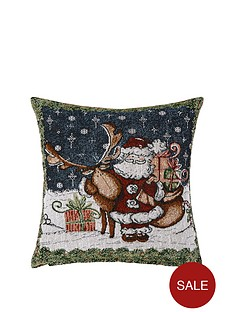 santa-amp-reindeer-tapestry-cushion