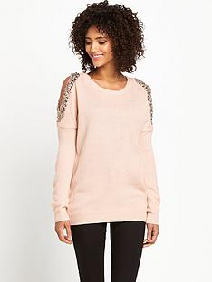 south-jewel-detail-cut-out-shoulder-jumper