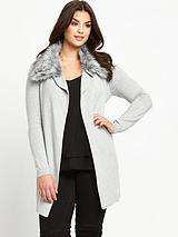 Plus Size Faux Fur Trim Belted Wrap Cardigan 14-28