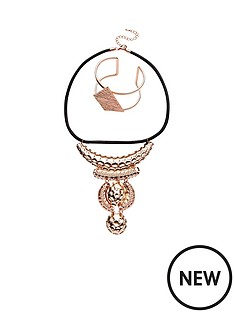2pk-rose-gold-embossed-cuff-and-necklace-setnbsp