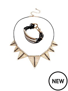 2pk-triangle-drop-necklace-and-multiampnbsplayer-metal-detail-cuffampnbsp