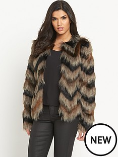 south-chevron-faux-fur-coatnbsp