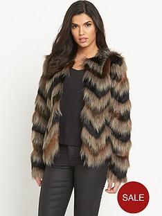 south-chevron-faux-fur-coatnbsp