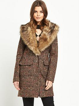 south-tweed-faux-fur-collar-coatnbsp