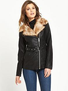 south-longline-faux-fur-collar-pu-bikernbsp