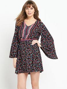 south-folk-print-angel-sleeve-v-neck-dressnbsp