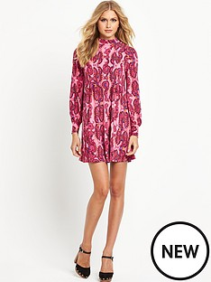 south-printed-turtle-neck-swing-dress
