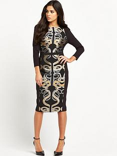 ted-baker-ted-baker-snake-jacquard-panel-dress