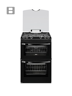 zanussi-zcg63010ba-60cm-gas-freestanding-double-oven-black