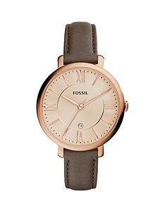 fossil-fossil-jacqueline-rose-gold-plated-case-champagne-dial-grey-leather-strap-ladies-watch