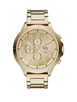 Armani Exchange Gold Multi Dial Gold Ip Plated Bracelet Strap Mens Watch