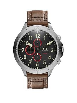 Armani Exchange Black Multi Dial And Dark Brown Leather Strap Mens Watch