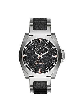 Diesel Arges Black Dial With Stainless Steel And Leather Bracelet Mens Watch