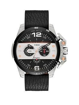 diesel-diesel-ironside-silver-and-black-dial-leather-strap-mens-watch