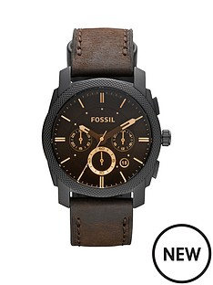fossil-fossil-machine-chronograph-amber-dial-black-ion-plated-stainless-steel-bracelet-mens-watch