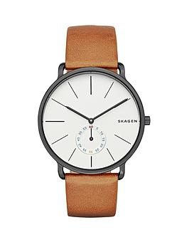 skagen-hagen-grey-stainless-steel-case-brown-leather-strap-mens-watch
