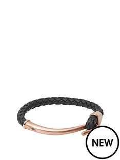 fossil-fossil-rose-gone-tone-and-black-leather-mens-bracelet