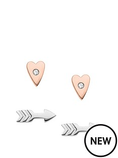 fossil-fossil-shiny-set-of-two-rose-tone-gold-heart-and-silver-tone-arrow-shaped-earrings