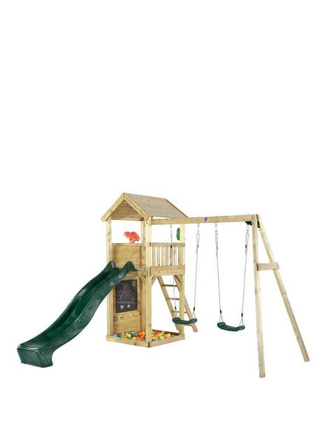 plum-wooden-lookout-tower-with-swings-slide-climbing-wall-and-sand-pit
