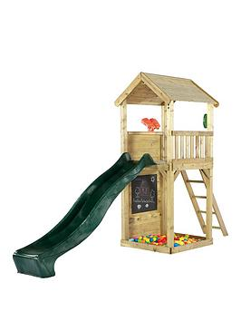 plum-wooden-lookout-tower-play-centre-with-slide-climbing-wall-and-sand-pit
