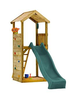 Plum Wooden Lookout Tower Play Centre With Slide Climbing Wall And Sand Pit