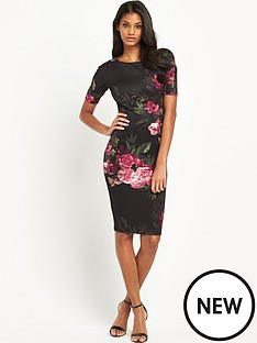 ax-paris-34-sleeve-statement-flower-midi-dress