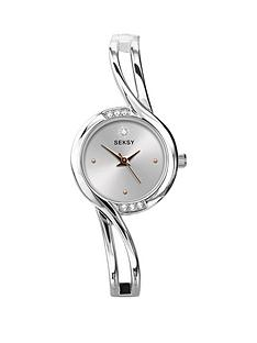 seksy-white-dial-crystal-set-silver-tone-half-bangle-ladies-watch