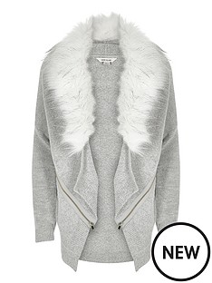 river-island-girls-longlinenbspcardigan-with-faux-fur-collar