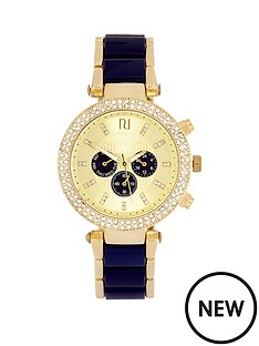 river-island-river-island-yellow-gold-tone-navy-strap-subdial-crystal-set-bezel-ladies-watch