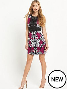 warehouse-print-and-lace-shift-dress