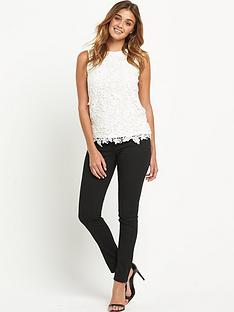 warehouse-pretty-leaf-lace-shell-top