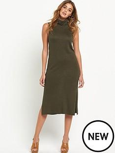 warehouse-roll-neck-sleeveless-midi-dress